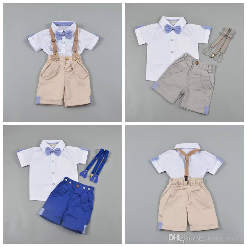177023f43 INS Baby Boy Clothes Sets Gentlemen Bows Suspenders Outfits Kids ...