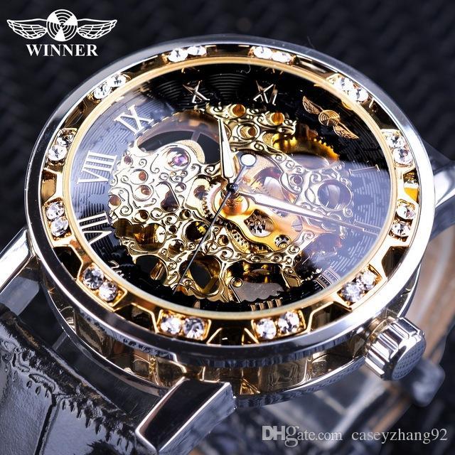 dd0e09e4294 Compre Vencedor Retro Moda Black Silver Relógio De Diamante Design Luminosa  Mãos Mecânica Relógio De Pulso Para Homens Top Marca De Luxo Relógio  Masculino ...