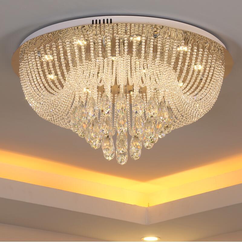 Neue runde wohnzimmer led kristall deckenleuchte vorhang lampe schlafzimmer  esszimmer lichter