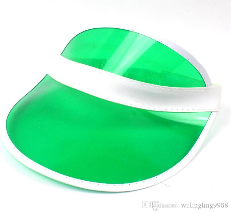 Güneşlik güneşlik parti şapka temizle plastik kap şeffaf pvc güneş şapka güneş koruyucu şapka Tenis Plaj elastik şapkalar ücretsiz DHL