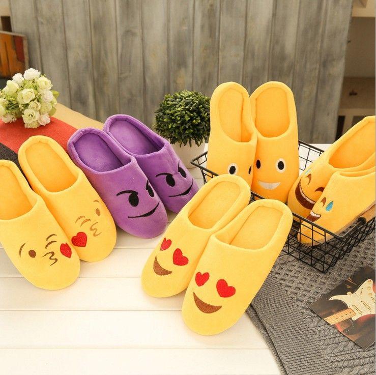 Pantofole Emoji calde da interno in stile 5 Pantofole da casa carine Grandi bambini Donna Pantofole Fuzzy Divertenti adulti