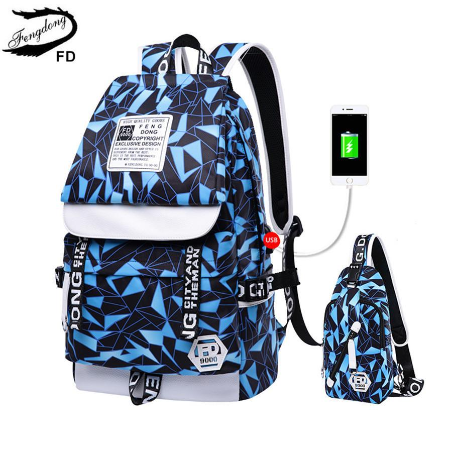 FengDong School Bags For Boys USB Charging Backpack For Teenagers Backbag  Men Travel Bags Male Sling Shoulder Chest Bag Y18100805 Latest Backpack  Cheap ... cacbee5a893e4