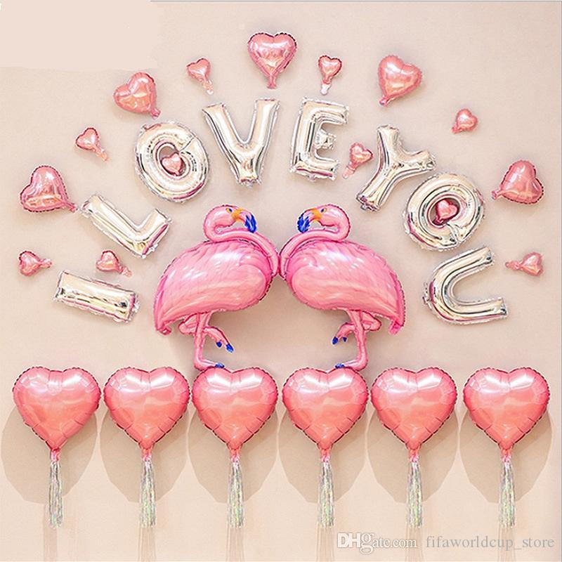 Grosshandel Hochzeitsdekorationen Ballon Kit Flamingo Theme Ich Liebe