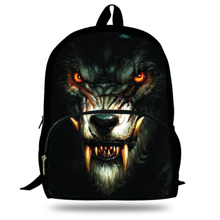 16-Inch Fashion Kids Animal Backpack White Wolf Bag For Kids Wolf Backpack Zoo Animal Bag For Children School Bags Boys Girl