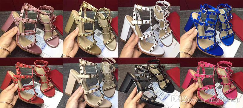 2018 high quality European style brand shoes imported leather female sandalsdesigner has tag female slippers women's fashion high heels