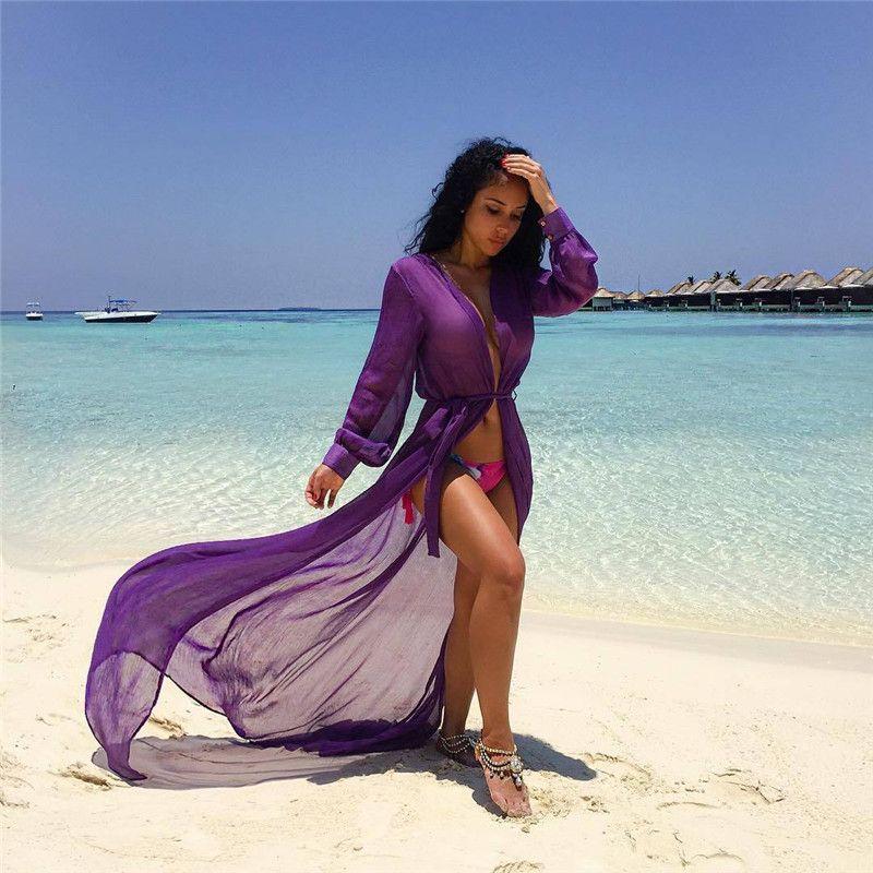 947e8f38b51cd Beach Cover Ups Tunic Pareos Swimwear Women 2018 Bikini Long Sleeve Bandage  Cardigan Cover Up Chiffon Swimsuits Beach Swim Wear Wear Womens Women  Wearing ...