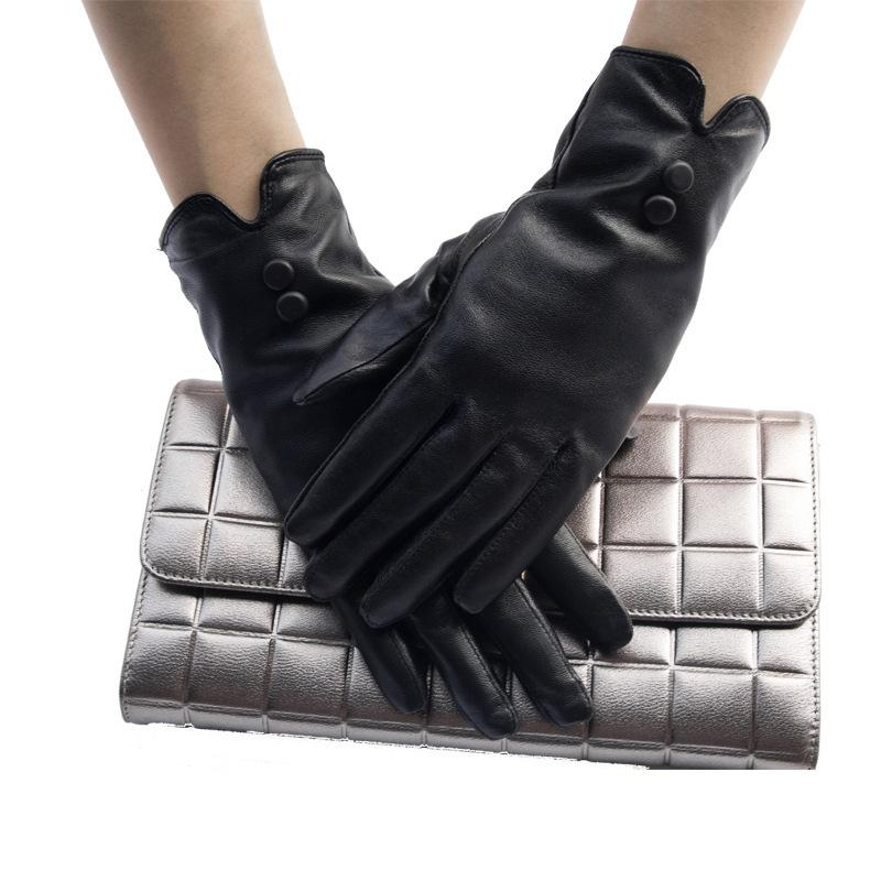 df3cbfe35 2019 FLYMALL High Quality 2017 Elegant Women Genuine Lambskin Black Leather  Gloves Autumn And Winter Thermal Hot Trendy Female Glove From Sisan08, ...
