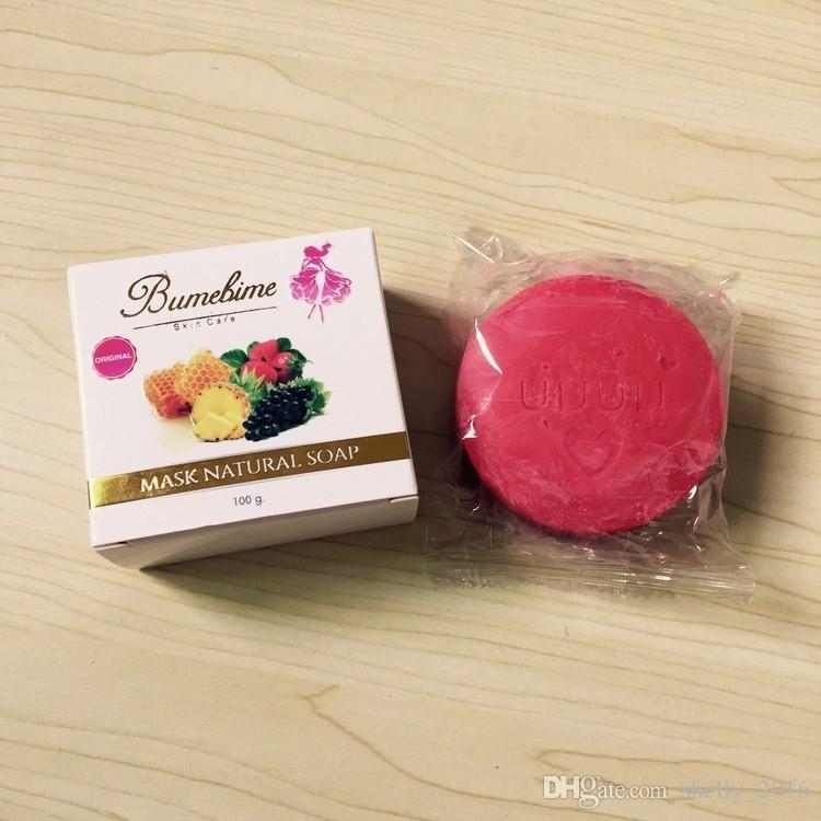 Bumebime Handmade Whitening Soap with Fruit Essential Natural Mask White Bright Oil Soap 100g DHL