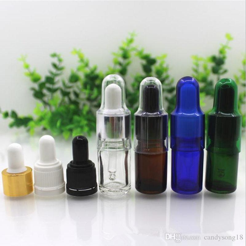5ml Glass Essential Oils Glass Dropper Bottles Refillable Clear amber green blue Glass Bottles Dropper Fragrance Vials F446