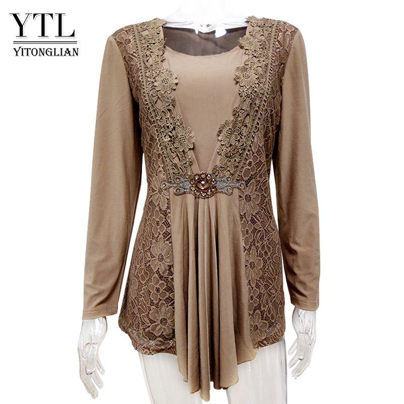 Großhandel Yitonglian Gloden Vintage Plus Size Spitze V Ausschnitt ...