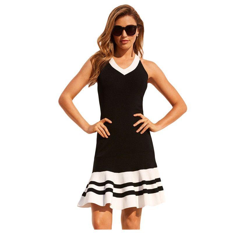 Women Party Dresses Clothes Summer Burgundy Black White Cute Sleeveless  Ruffle Hem Crisscross Back Strap V Neck Slim Mini Dress Blue Dresses  Juniors Black ... 70ed4b8db