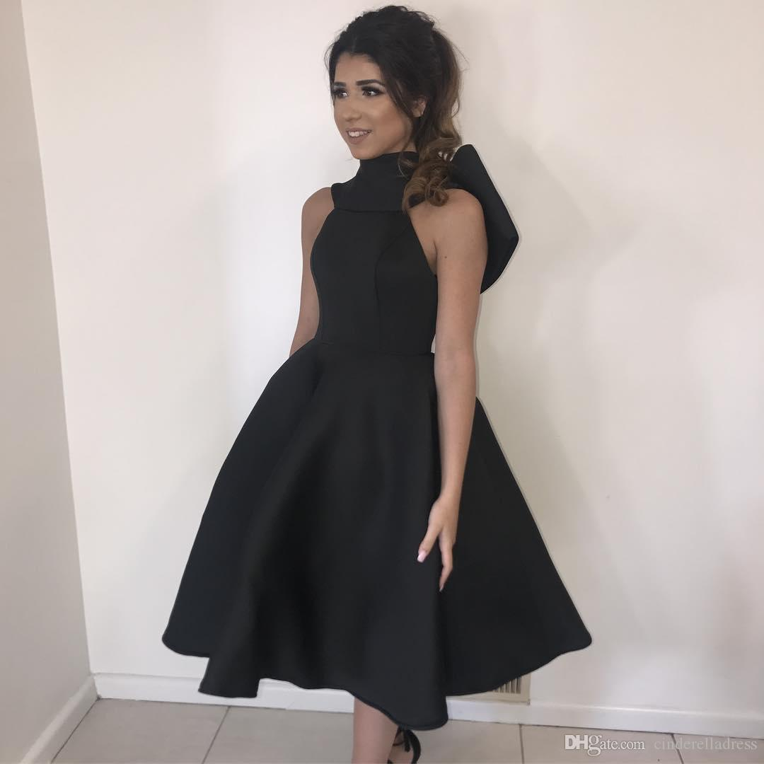 2018 Little Black Tea Length Prom Dresses High Neck Ball Gown Bow Satin Cocktail Dress Plus Size Evening Gowns