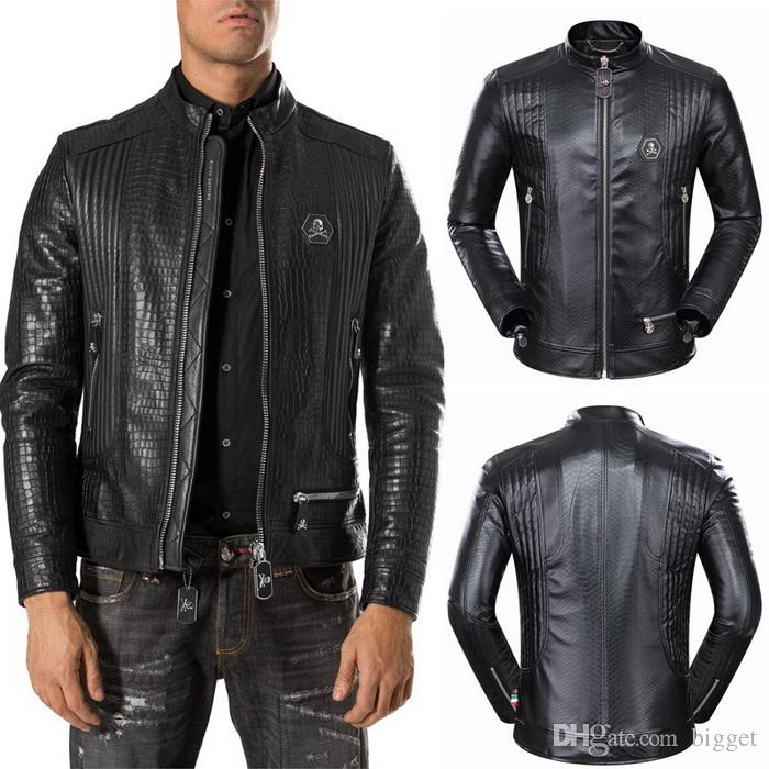 Compre Nuevo Negro Diseño Biker 2018 Moto Chaqueta De Cuero 1pOHW