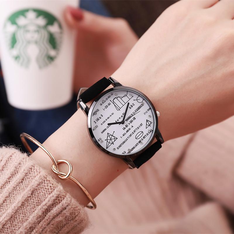 c0c3a757f8b Compre Ulzzang Moda Casual Senhoras De Couro De Quartzo Relógio Matemático  Símbolos Das Mulheres Relógios De Pulso Presente De Stirringoa