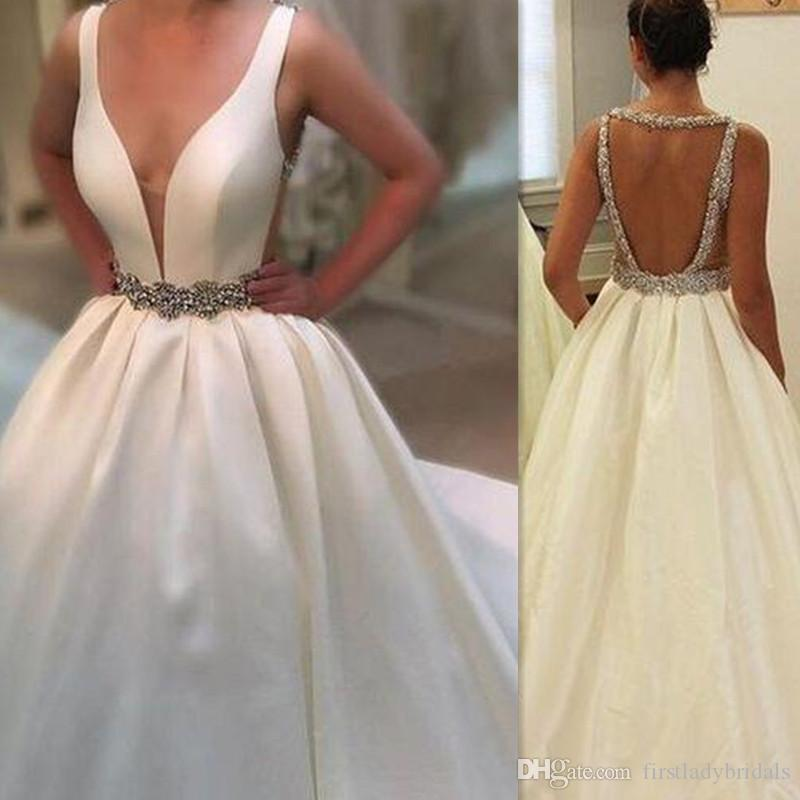 e4745ca8435a3 Discount 2018 New Design Sexy Deep V Neck Wedding Dresses Backless Open Back  Satin Beaded Sash Bridal Gowns Beaded Custom Made Robe De Mariage Bridal  Lace ...