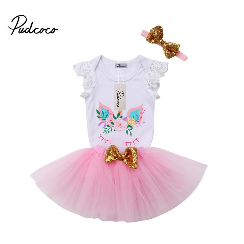 0aea9cf3ddde First Birthday Unicorn Tops + Tutu Skirts Outfit Lace Romper Bodysuit Mini  Skirts Headband 3pcs Baby Girls Clothes Set