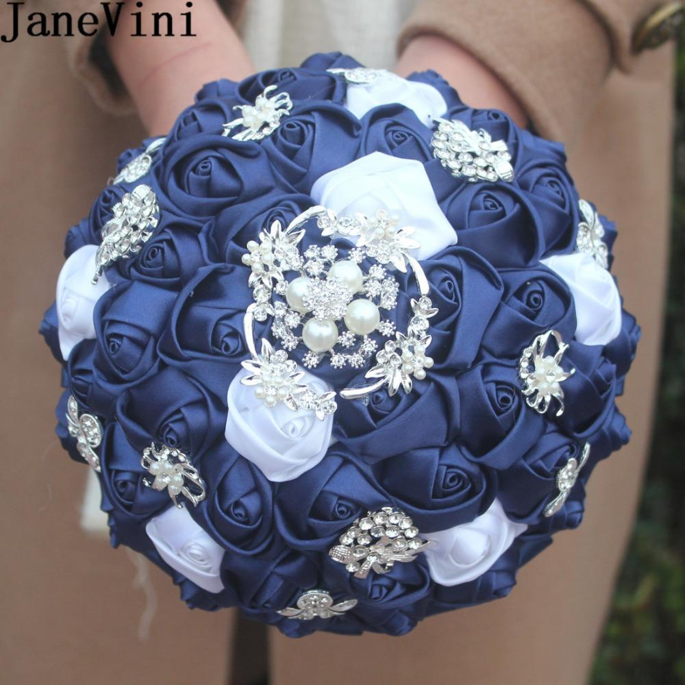 Wholesale Vintage Navy Blue Brooch Bridal Bouquet With Crystal Satin ...