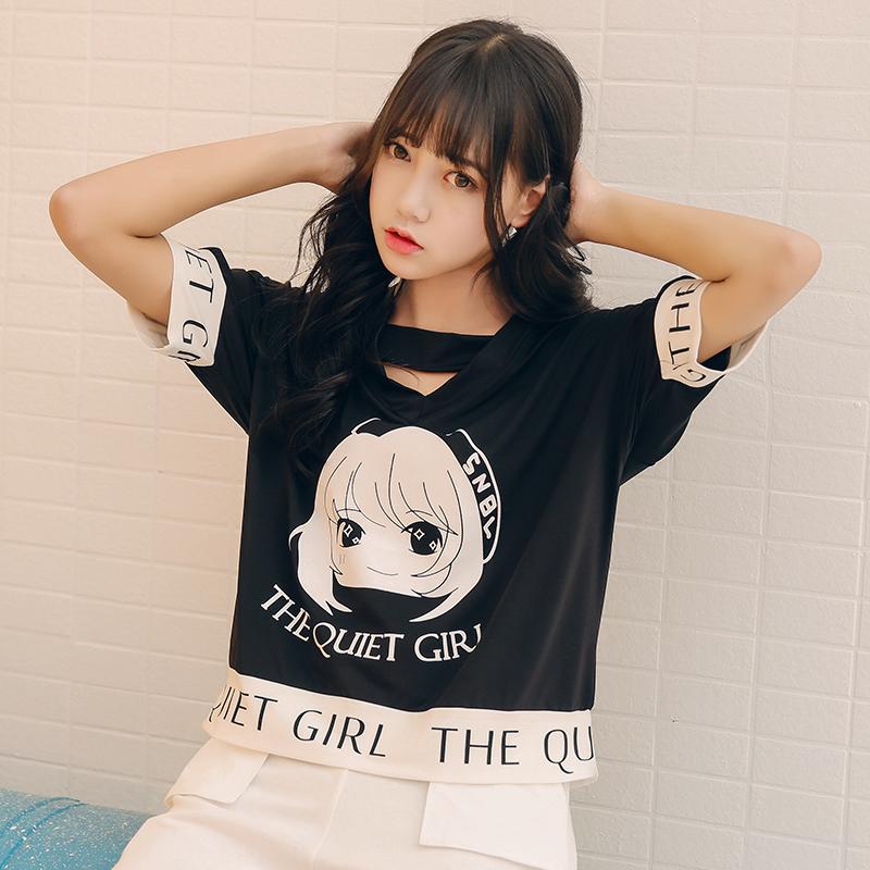 Acheter Shirts Ulzzang Dames Femmes T Été Japon Harajuku Lâche RqHvTRx