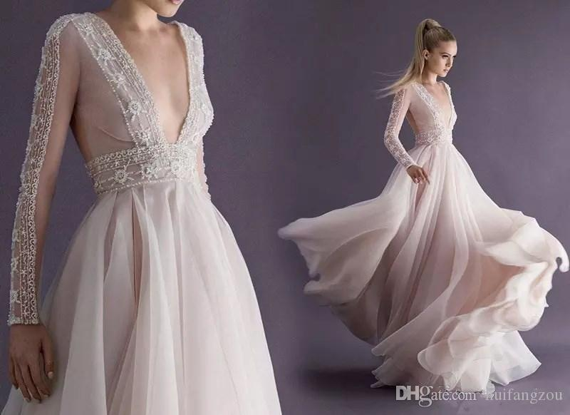 Großhandel Paolo Sebastian Blush Pink Beach Brautkleid Mit Tiefem V ...