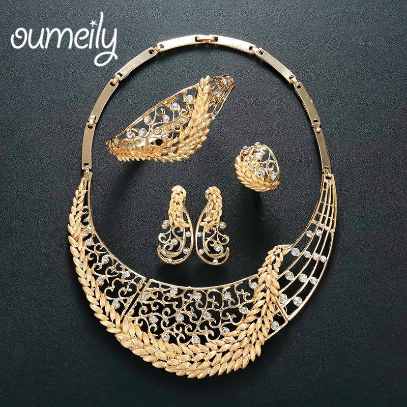 Oumeily Türkische Hochzeit Kostüm Schmuck Set Brautschmuck Afrikanische Perlen Schmuck Set Für Frauen Gold Farbe Blume Halskette