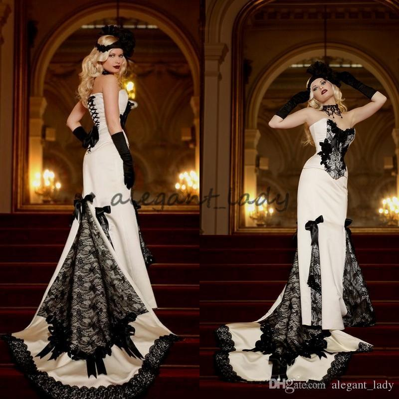 Vintage 2018 White Black Lace Victorian Wedding Dresses Cheap Gothic Sweetheart Satin Bow Lace Up Back gotchi country Long Bridal Gowns