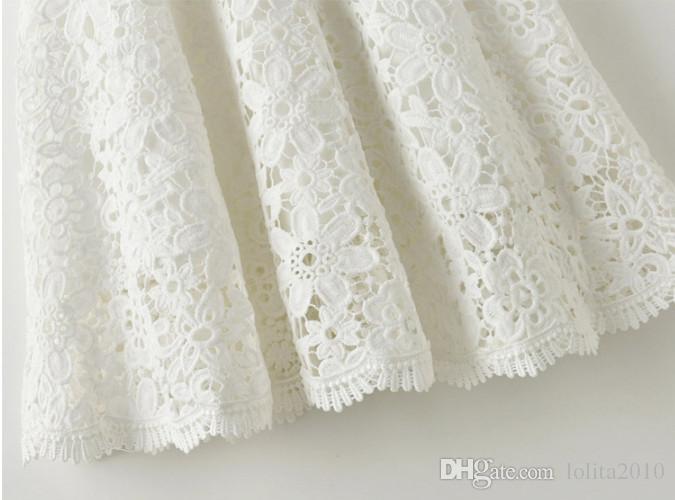 Crianças Menina de crochê rendas oco Vestidos crianças primavera verão de manga curta rendas princesa vestido de festa tutu, crianças Roupa Dos Miúdos vestido