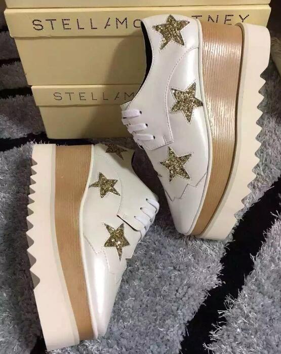 2018 heißer Verkauf! Stella Mccartney Frauen Star Plateauschuhe Top Qualität Kalbsleder echtes Leder 7cm Keil Oxfords Elyse Turnschuhe