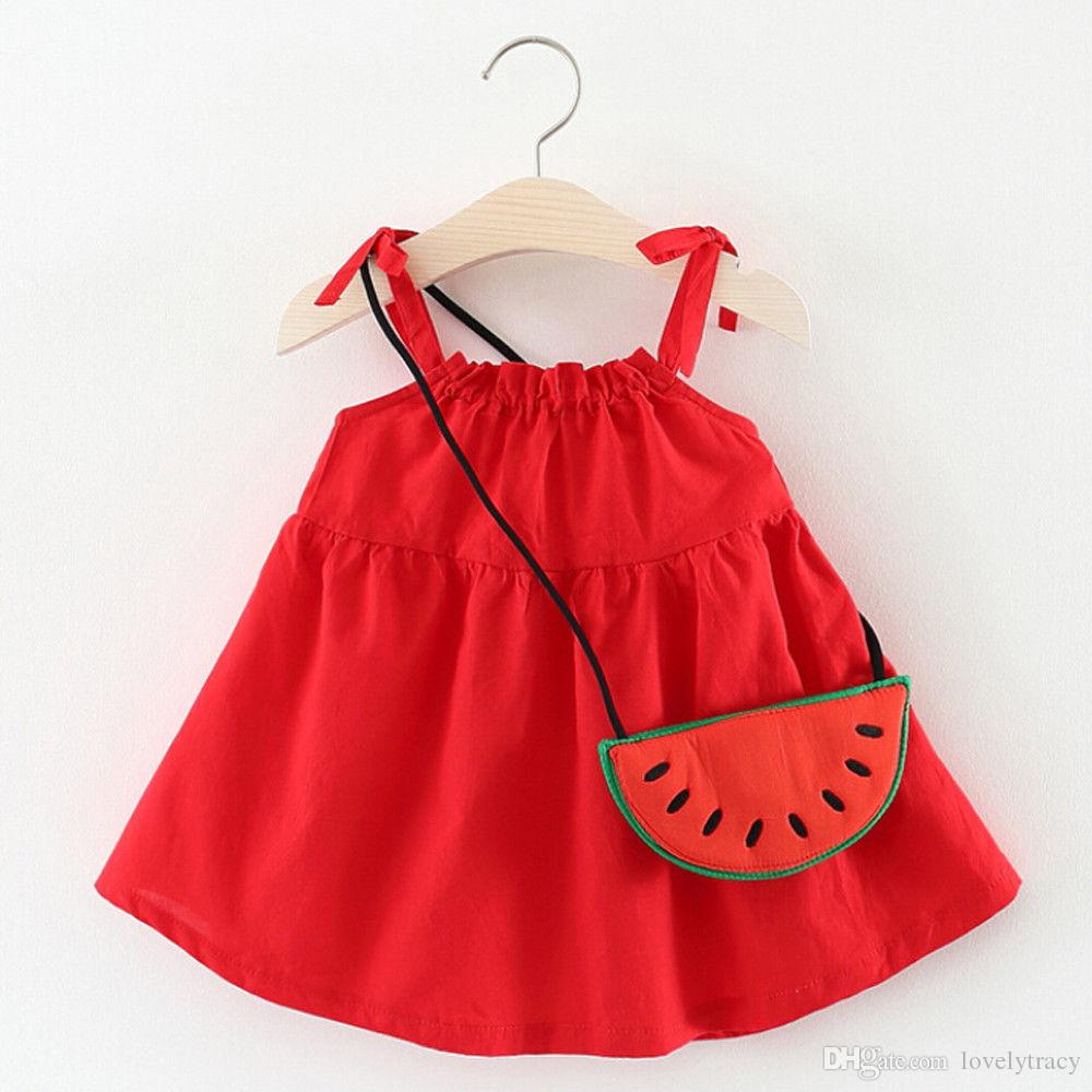 Summer Vest Toddler Kids Baby Girls Sleeveless Clothing Party Princess Dresses Casual Clothes Beach Suspender Skirt With a Watermelon Bag