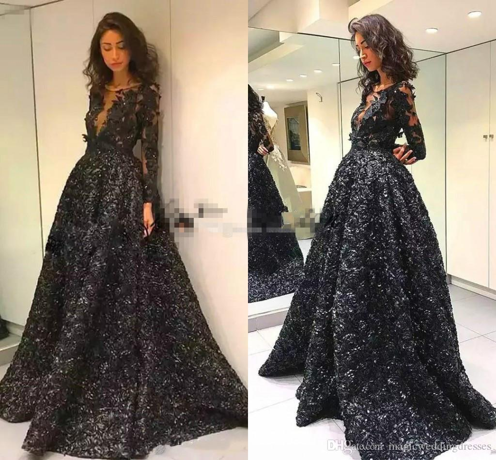 2018 Prom Dresses With Long Sleeve Jewel Neck Illusion Black 3d Rose ...
