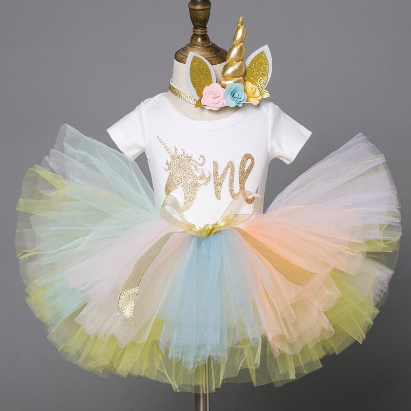 88b9796e407159 Bebê criança primeiro primeiro traje de aniversário unicórnio cabeça tutu  colorido vestido para meninas roupas de verão infantil batismo vestido