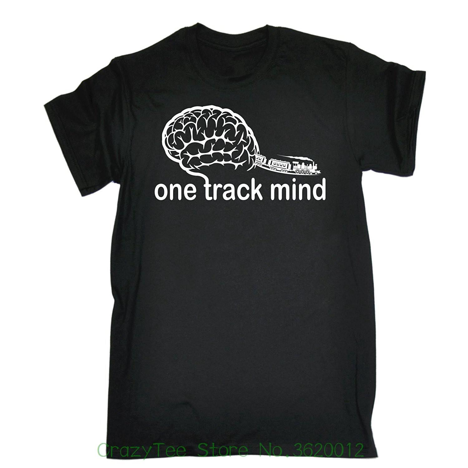 2018 new mens t shirts 123t mens one track mind trains t shirt funny christmas casual birthday tee online with 16 56 piece on crazyteestores store