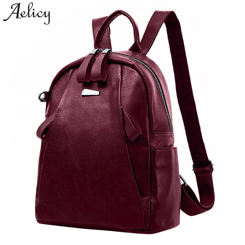 Aelicy Fashion Backpacfor Teenage Girls Large Capacity Travel Backpack  Women s PU Leather Backpack School Bag Casual Vintage Fashion Leather  Backpack ... 38fe291b23bfd