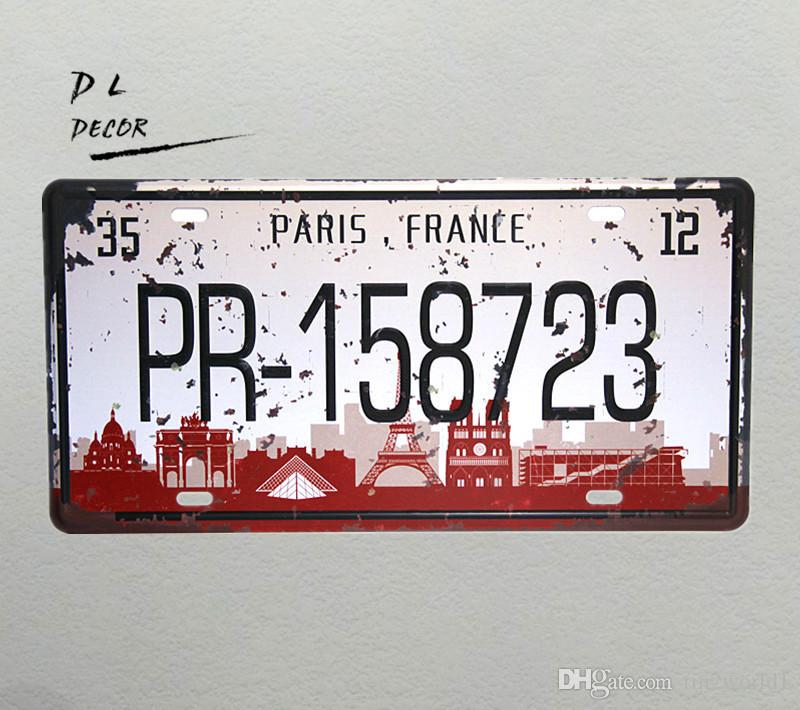 "DL-""PR-158723"" PARIS FRANCE License plate vintage Metal/TIN Sign shabby chic home decoration accessories"