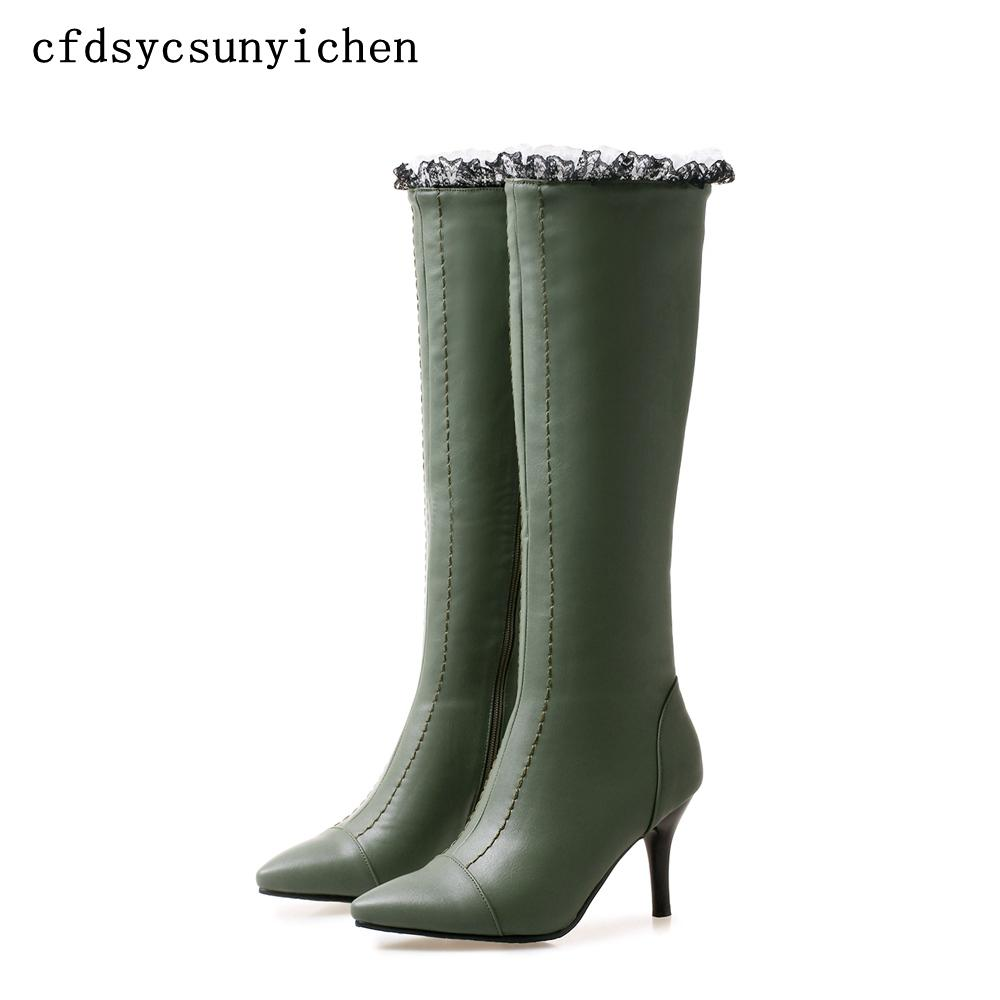 cde49d79894 Women Winter Shoes Knee High Boots Green White Black Big Size High Quality  Brand Women Shoes Heels BK ASCP 08 16 Chelsea Boot Mens Chelsea Boots From  ...
