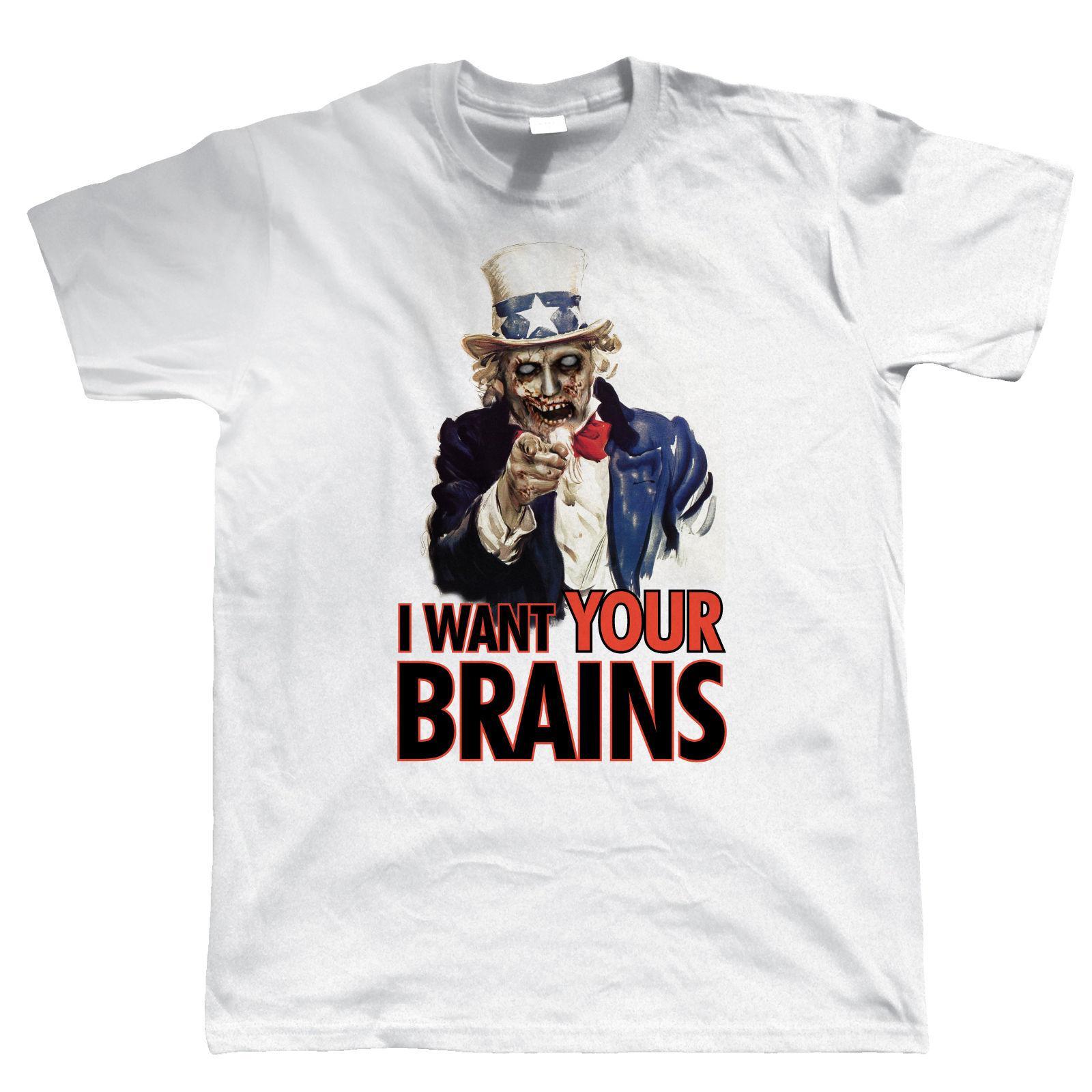 Großhandel Ich Will Deine Gehirne, Mens Funny Zombie T Shirt ...