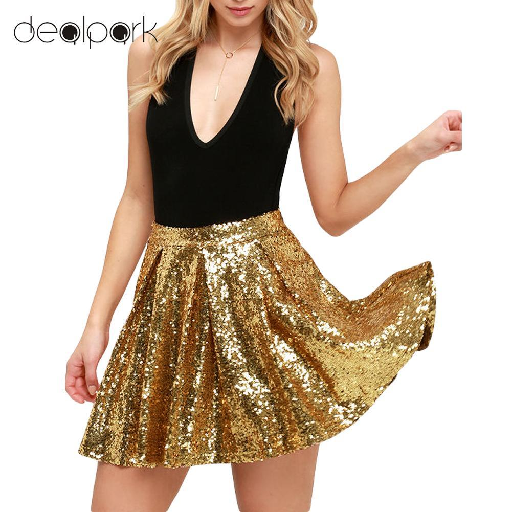 cc4b202756 2019 Summer Fashion Mini Skirt Women Gold Sequins Skirt High Waist ...