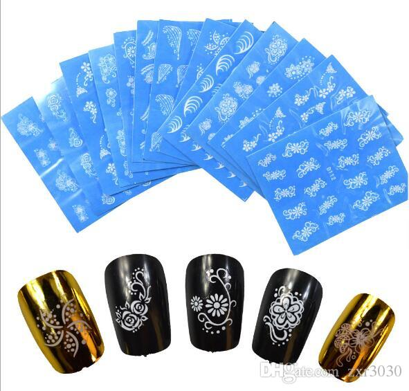 Pegatinas de uñas Belleza Nail Art Water nail Decal Decoration Negro Blanco Lace Flower Sticker On Nails Accessories