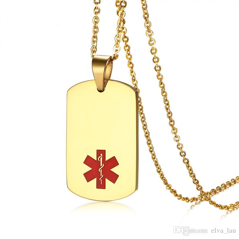 Rectangle Medical Alert Pendant Necklace for Women Men Stainless Steel Gold  Color Dog Tag Necklaces Chain 20