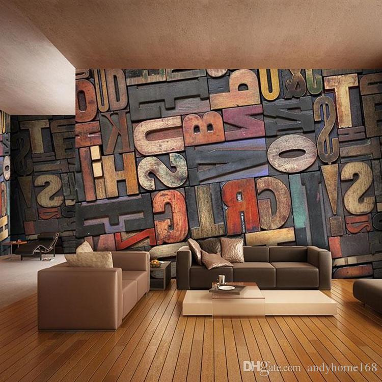 3D Giant Photo Wallpaper Letter Number Wall Mural Personality wallpaper Bedroom Hallway room decor Sofa TV setting wall art Home Decoration