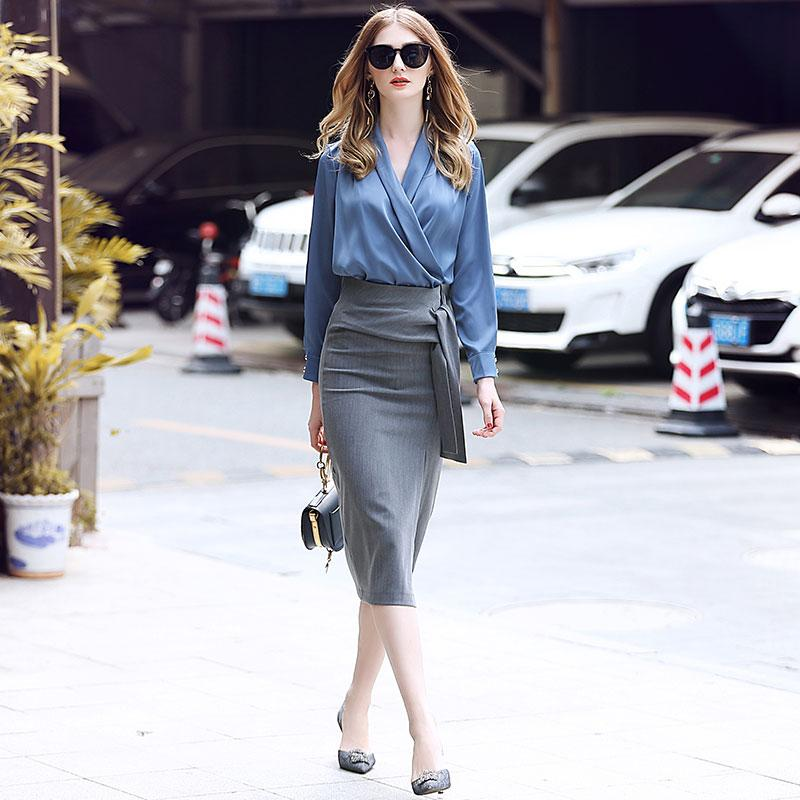 Two Piece Set Women Skirt Sets winter clothes women 2018 Brand Runway Shawl collar shirt + split skirts fashionable skirt suit