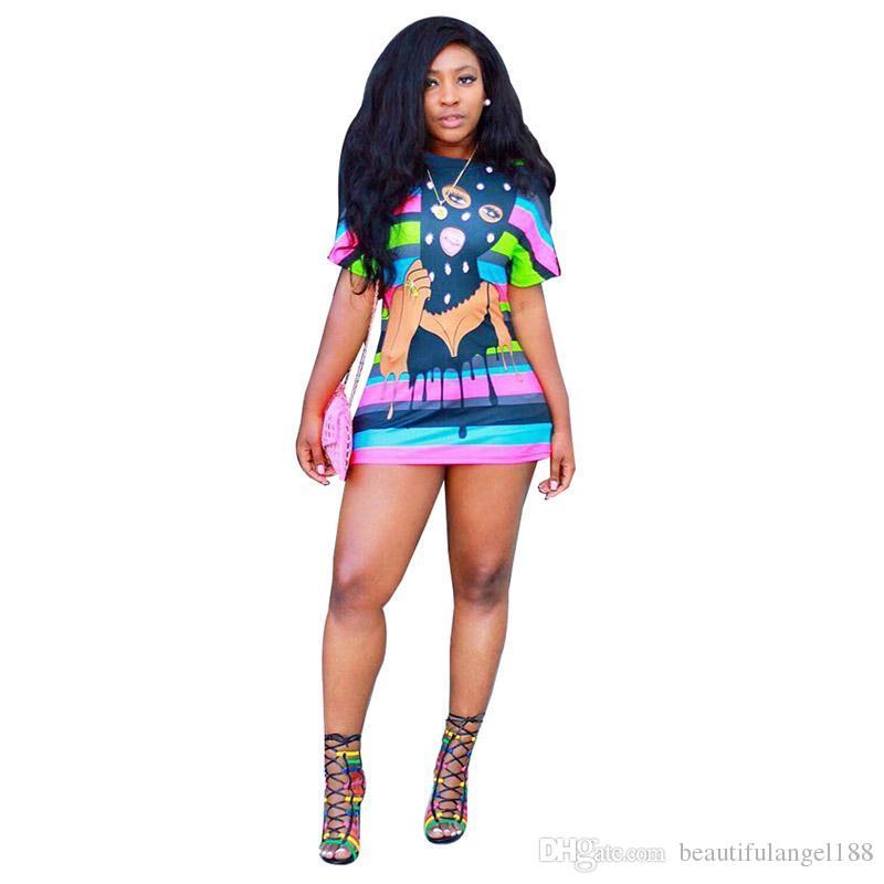 Compre 2018 Summer Womens T Shirts Vestido A Rayas De Color Mini Falda De  Impresión Cuello Redondo De Manga Corta Casual T Shirt Camisetas Ropa De  Moda Club ... 9788b6fe3290
