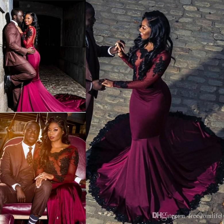 0393ba758d00 Sexy Burgundy Black Girl Prom Dresses Appliques Sequins Open Back Satin Illusion  Long Sleeve Mermaid Party Dress Evening Wear Simple Prom Dresses Yellow ...
