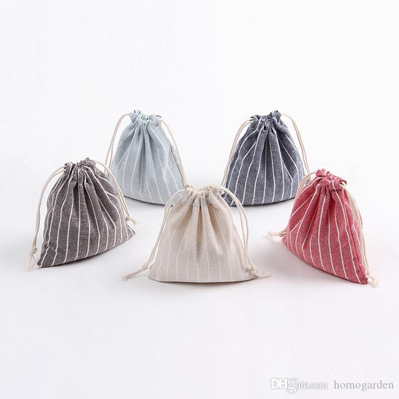 Christmas Gift Bag Pure Linen Cotton Canvas Drawstring Sack Bags With Xmas Steak Stripe For Gifts Candy
