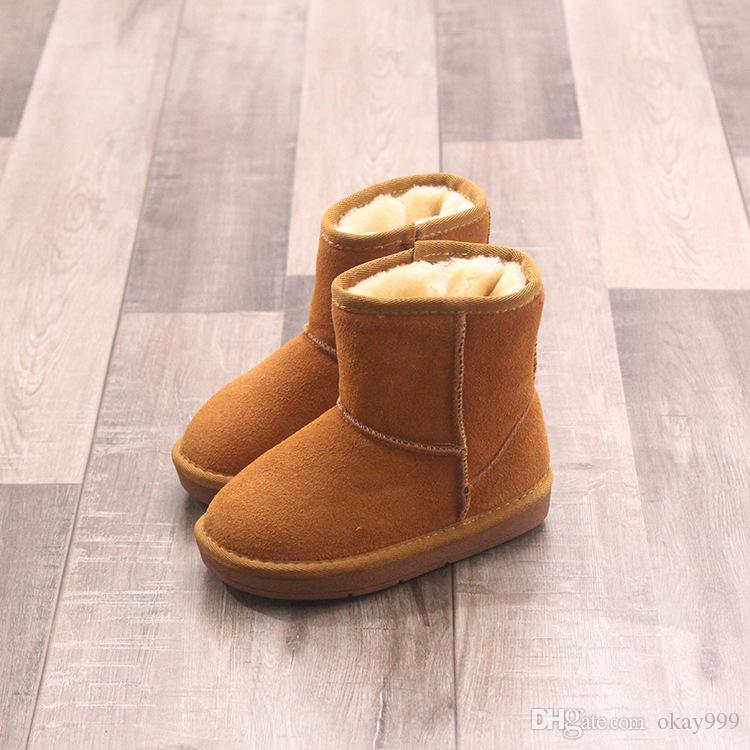 17b90e551b25b5 Neue Low-Rohr Kinder Winterstiefel aus echtem Leder Baumwolle Kind  Großhandel Fabrik Hinzufügen Haar Kinder Schneeschuhe Mädchen Schuhe EUR  Größe 25-37
