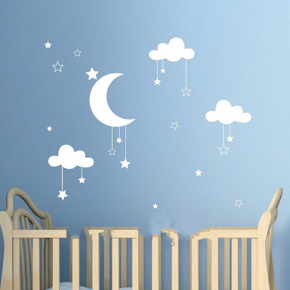 Grosshandel Schone Baby Kinderzimmer Wolken Sterne Wandaufkleber Mond