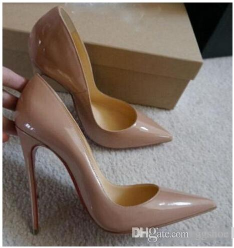 1223232bf16 Free Shipping So Kate Styles 12cm High Heels Shoes Red Bottom Nude Color  Genuine Leather Point Toe Women Pumps Rubber Wedding Shoes