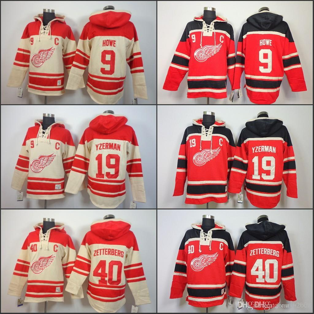 2019 Mens Detroit Red Wings Hoodie 19 Steve Yzerman 40 Henrik Zetterber 9  Gordie Howe Old Time Ice Hockey Jersey Hoodies Sweatshirt Stiched S 3XL  From ... 2460cd327