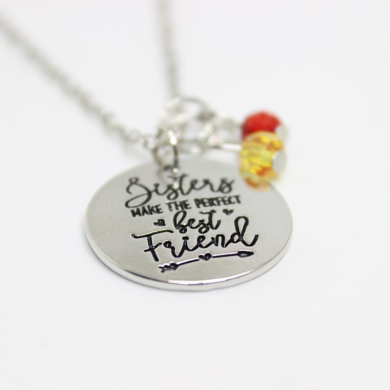 Wholesale sisters make the perfect best friend engraved pendant wholesale sisters make the perfect best friend engraved pendant necklace crystal charm necklace for sister jewelry gift diamond pendants single diamond aloadofball Choice Image