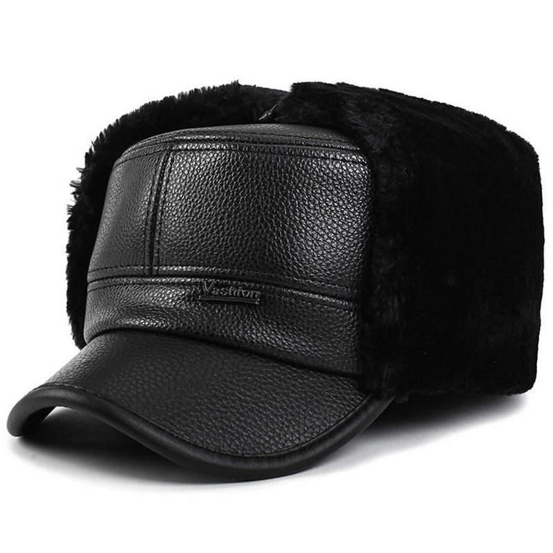 VORON 2017 New Men Winter Snow Hat Fashion Solid Color Cashmere Cashmere PU  Adult Men And Women Winter Baseball Cap Adjustable Caps Hats Fitted Cap  From ... aacbd7542083