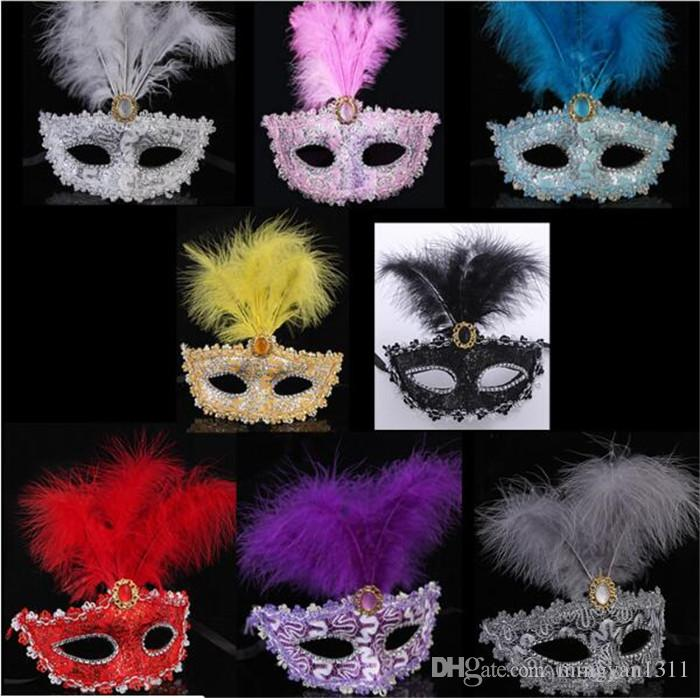 Sexy Party Eye Masks Halloween Masquerade Mask Dancing Pvc Feather